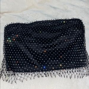 rhinestone fishnet black tube top
